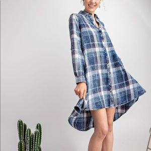 Easel cotton button down shirt dress plaid